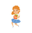 sweet little girl jumping with book cute kid vector image