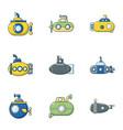 underwater vessel icons set cartoon style vector image vector image