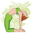 women silhouette camel yoga pose ustrasana vector image vector image