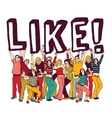 Young group people and like sign vector image vector image