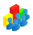 Business team with chart icon isometric 3d style vector image