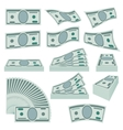 Us dollars money stacks set vector image