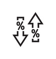 arrows up down with percent symbol - web black vector image vector image