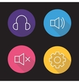 Audio player flat linear icons set vector image vector image