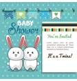 baby shower card twins rabbit design vector image vector image