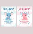 baby shower elephant invitation card for newborn vector image
