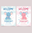 bashower elephant invitation card for newborn vector image