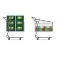 beer bottle in shopping basket vector image vector image