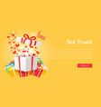 best presents with love on yellow background vector image vector image