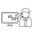 business and email in black and white vector image vector image