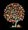 cakes and sweets art tree for your design vector image vector image