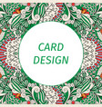 card design with floral green pattern vector image