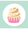Card template with yummy cupcacke vector image vector image