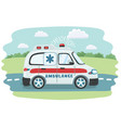 cartoon ambulance vector image vector image
