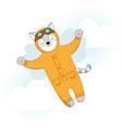 cat with wings flying in the sky vector image