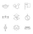 china icon set outline style vector image vector image