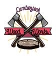 Color vintage lumberjack emblem vector image