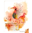 Colorful Bird on watercolor effect background vector image vector image