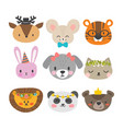 cute animals with funny accessories set of hand vector image vector image