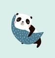 cute slepping panda on moon childish print vector image vector image