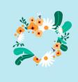 empty heart shape frame flower background vector image vector image