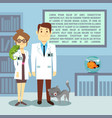 flat veterinary office with doctors and animals vector image vector image