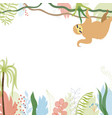 floral card with sloth vector image