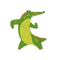 friendly crocodile standing on two legs funny vector image vector image