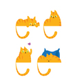 Ginger domestic cat in four positions vector image