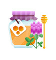 glass jar of honey and clover flower natural vector image vector image