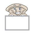 grinning with board oyster mushroom character vector image
