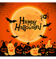 Halloween background of cheerful pumpkins vector image