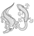 hand drawn zentangled crocodile and lizard vector image