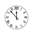 happy new year 2021 icon with clock vector image vector image