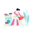 housewife ironing clear linen at home young woman vector image