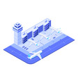 isometric airport terminal jet airplane on runway vector image