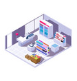 isometric supermarket interior 3d grocery store vector image vector image