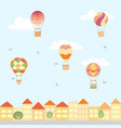 landscape with hot air balloons and town vector image