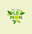 lemon logo detox drinks emblem slices leaves vector image