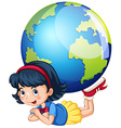 Little girl and the world vector image vector image