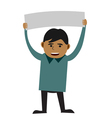 man holding blank sign vector image vector image