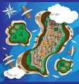 map island with a castle and ships vector image vector image