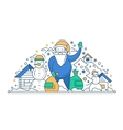Merry Christmas and Happy New Year - line design vector image vector image