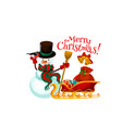 merry christmas snowman and gifts vector image vector image