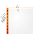 Metal paper clip and paper vector image vector image