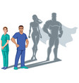 nurse superheroes shadow vector image