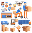parcel delivery icons set cartoon style vector image