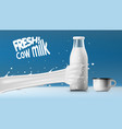realistic transparent clear milk bottle vector image vector image