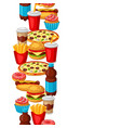 seamless pattern with fast food meal tasty vector image