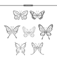Set black butterflies isolate on white background vector image vector image